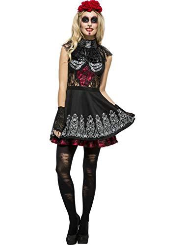erdbeerclown - Damen Frauen Kostüm Tag der Toten Braut Kleid mit Kopfschmuck, Day of The Dead Bride Dress with Headpiece, perfekt für Halloween Karneval und Fasching, M, Schwarz