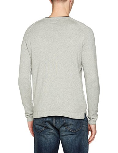 JACK & JONES Herren Pullover Jorharvey Knit Crew Neck Grau (Light Grey Melange Fit:Knit Fit)