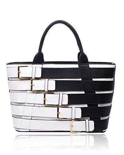 LeahWard® Damen Groß Belt Stil Berühmtheit Tote Handtaschen Schultertaschen (Schwarz/Weiß) (Handtasche Chloe Weiß)