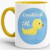 Tassendruck Geschenk-Tasse Zum Ruhestand mit Spruch: Endlich (R) Ente/Rente/Rentner/Pension/Abschieds-Geschenk/Innen & Henkel Gelb