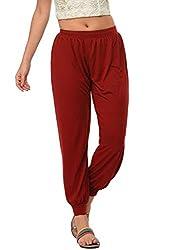 Frenchtrendz Women Harem Pants (Dark Maroon, XXX-Large)