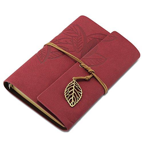 KEESIN - Taccuino vintage in similpelle, copertina morbida con foglia. Diario, agenda, idea regalo. Red