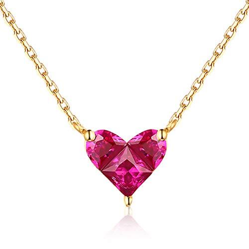 (DRSMDR Gold Herzförmige Halskette Einfache Kleine Frische Süße Vielseitige Anhänger Roter Korund Schmuck 14K Gold Geschenk Für Freundin Steht Für Liebe,Roter Korund,Einheitsgröße)