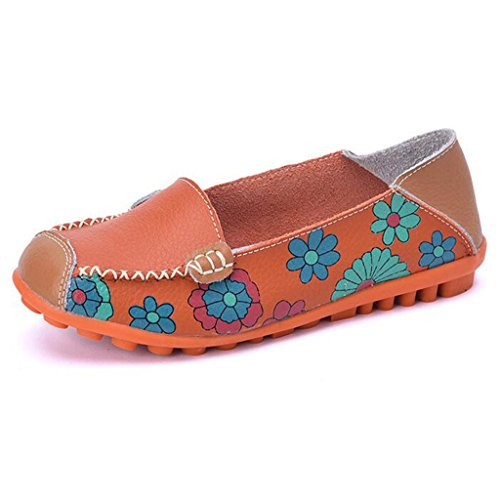 Binying Damen Blume Drucken Leder Flache Mokassins Orange