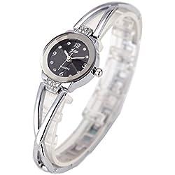 Women Watches Silver Bracelet Chain Rhinestone-Black