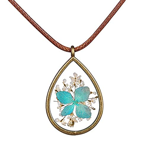 Infinite U Classic Dried Ocean Blue Flower Necklace Natural Plant Specimen Resin Transparent Drop-shaped Pendant Adjustable Chain for