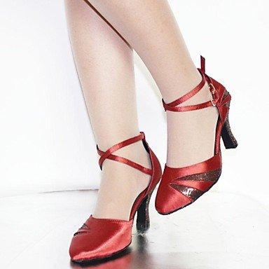 XIAMUO Anpassbare Damen Tanzschuhe Latein/Standard Schuhe Satin/Kunstleder angepasste Ferse Schwarz/Gelb/Rot/Schokolade burgund