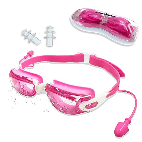 Zerhunt Schwimmbrillen für Kinder, Schwimmbrille mit Antibeschlag und UV Schutz, Ohrstöpsel mitgeliefert, für Mädchen Junde Kinder (Rosa)