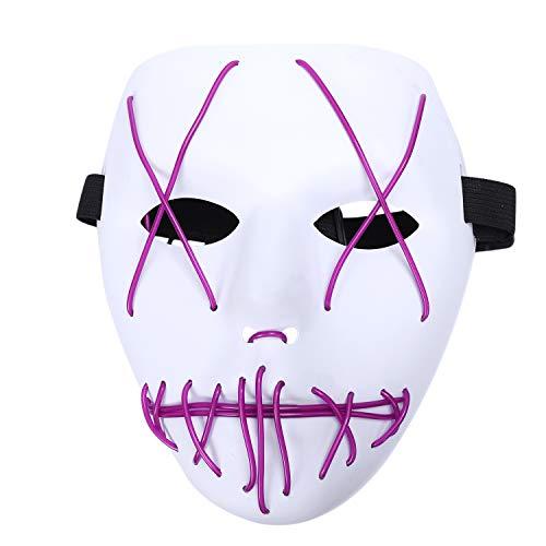 TOOGOO 3 Modus Halloween Unheimlich Maske Rollen Spiel LED Beleuchtet Kostüm Maske Klarer Film (Lila)