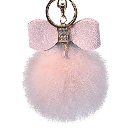 MRULIC 1pc Diamant Kaninchen Pelz Ball Fox Bowknot Schlüsselanhänger Tasche Plüsch Auto Schlüsselring Anhänger 10cm (Pink) (Preiswerte Diamant-ringe)