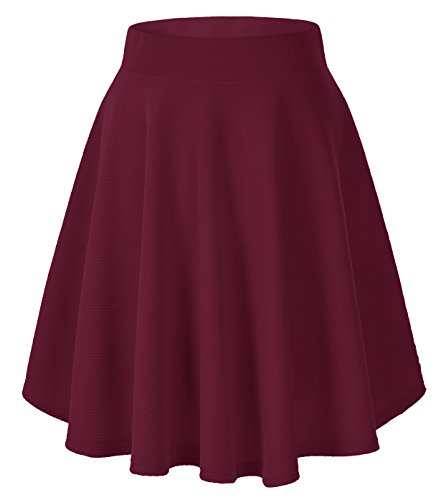 Urban GoCo Donna Moda Svasata Mini Gonna da Pattinatrice Versatile Elastica Solida Colore Gonna Vino rosso-lungo XL