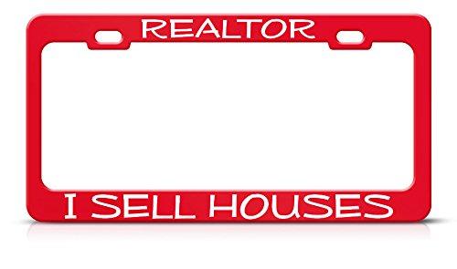 Realtor I Sell Houses Metal Heavy Duty Acero Rojo Placa de Licencia...