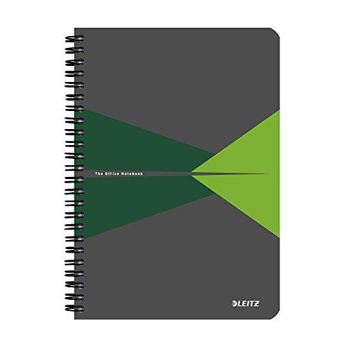 Leitz Blocco per appunti A5 con copertina in carta plastificata, 90 fogli, A quadretti, Rilegatura a spirale, Carta 90gr/mq, Verde, Office, 44580055