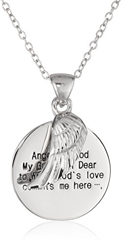 Amazon Sterling Silver Angel of God and Wing Pendant Necklace 18