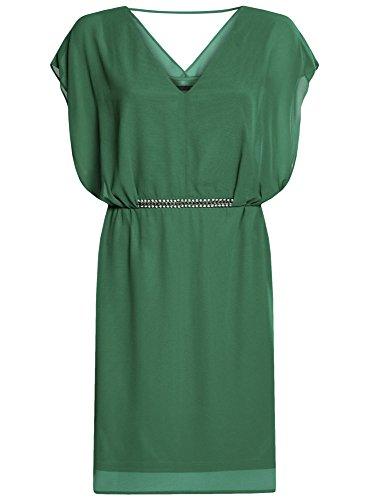 oodji Collection Femme Robe en Mousseline avec Ceinture Décorée Vert (6E00N)