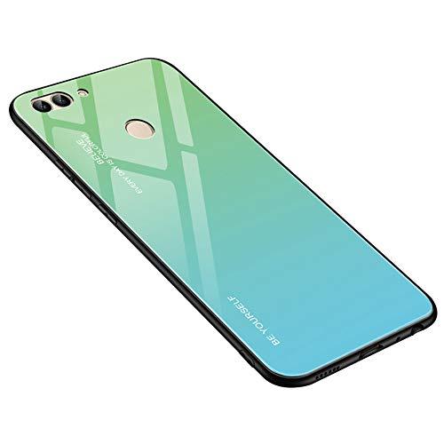 Fantasyqi Handyhülle Kompatibel mit Huawei P Smart 2018/ Enjoy 7S Hülle + Kostenlos Schutzfolie [Ultra Hybrid Silikon TPU mit Gradient 9H Panzerglas] 9H Gehärtetem Marmor Glas Rückseite mit TPU Rahmen -