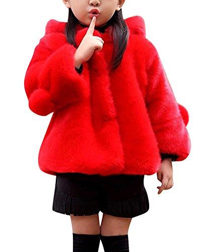 Gladiolus Niña Ropa Chaqueta Piel Sintética De Manga Larga Outerwear Abrigo con Capucha Rojo 170CM