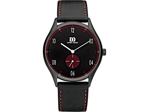 Danish Design Steel analogica al quarzo orologio da uomo in pelle nera IQ24Q1136