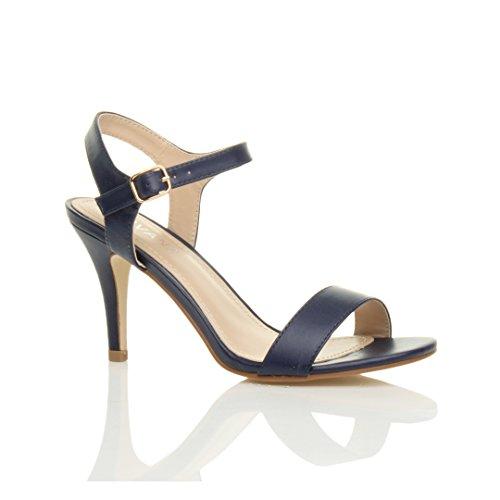 Ajvani Femmes Haute Talon Boucle Fête Élégant à Lanières Sandales Chaussures Pointure Bleu Marine Mat