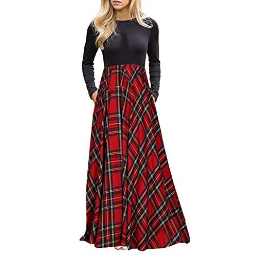 Elecenty Abito lungo a maniche lunghe scozzese da donna impero Moda Casual  Vestito 8f515b5ac26