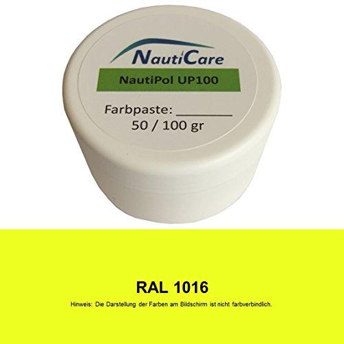 NautiCare NautiPol up 100 Farbpaste 100 g - Farbe Schwefel-Gelb RAL 1016 - Farb-Paste Zum Einfärben von Polyesterharz - 35 RAL Farben zur Auswahl (Gelb Stoff Farbstoff)