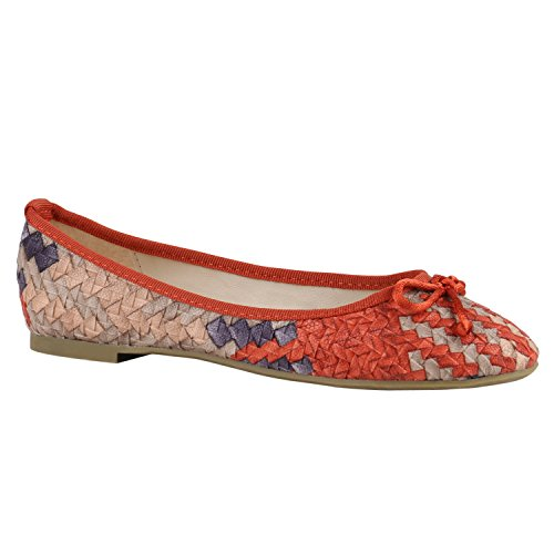 Klassische Damen Ballerinas | Lederoptik Flats | Schuhe Übergrößen | Flache Slipper | Spitze Prints Strass Orange Lila Hellbraun