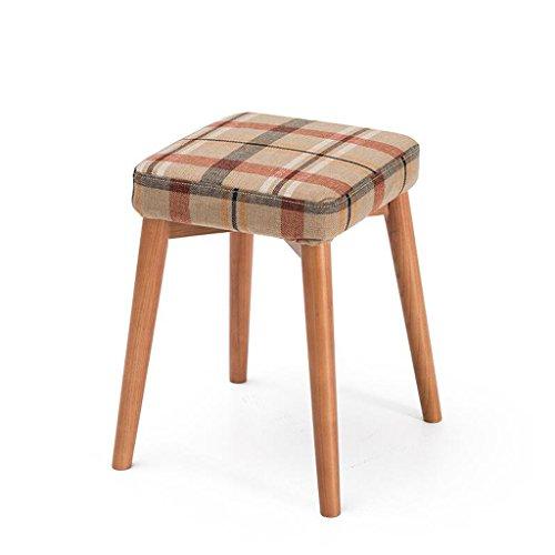 Rollsnownow Beige Rouge Treillis Coussin Tabourets En Bois Solide Creative Mode Dressing Tabouret Tabouret De Table En Tissu Maison Petit Banc (Color : Wooden wooden frame)