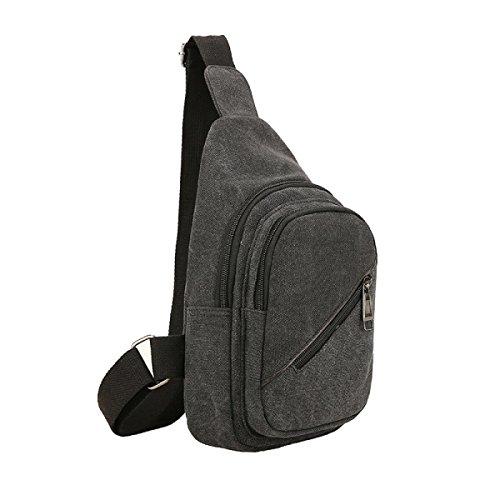 BULAGE Pack Brustbeutel Männer Mode Multifunktions Sport Natur Leinwand Tasche Rucksack Reiten Reisen Freizeit Black