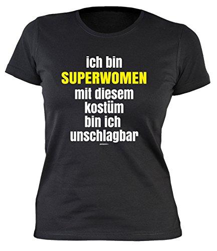 Fastnacht Girlie Shirt ::: Ich bin SUPERWOMAN und mit Kostüm unschlagbar ::: Karneval Fan und (Gecken Party Kostüme)