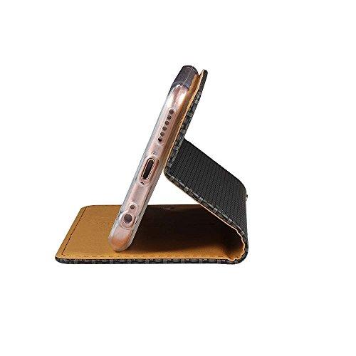 """iPhone 6S Plus Coque, SHANGRUN Élégant PU Cuir TPU Intérieur Folio Carte de Crédit Fentes Supporter Housse Étui Cover Case pour iPhone 6 Plus / 6S Plus 5.5"""" Bleu Noir"""