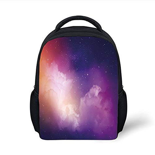 Kids School Backpack Night Sky,Stars Nebula Milky Way Starry Outer Space Theme Design Image,Pink Orange Dark Blue Plain Bookbag Travel Daypack