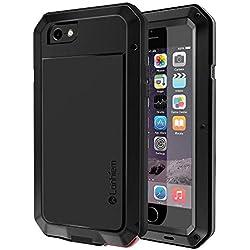 """Coque iPhone 6S, Coque iPhone 6, Lanhiem [Antichoc] [Solide et Rigide] Antipoussière Full Body avec du verre trempé [Garantie à Vie] Imperméable IP44 Etui per iPhone 6S / 6 4.7"""" - Noir"""