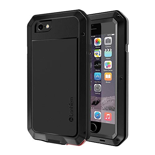 iPhone 6S Hülle, iPhone 6 Hülle, Lanhiem [Tough Armor] [Stoßfest] Outdoor Schutzhülle mit Eingebautem Displayschutz Metall Schutz Wasserdichtes IP44 Handyhülle - Schwarz