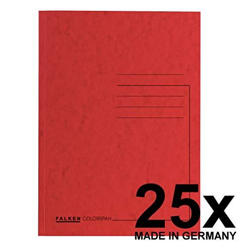 Falken Premium Aktendeckel 25er Pack aus extra starkem Colorspan-Karton für DIN A4 rot Hefter ideal für das Büro und Schule und die mobile Organisation