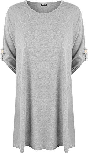 WearAll - Damen Ebene Wende Nach Oben Schaltfläche Kurz Hülle T-Shirt Strecke Top - Grau - 44-46 (Oben Knopf)