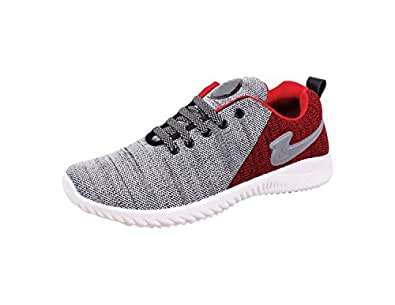 SKYMATE Red Lite Weight Sport Shoes for Boys(7yrs-15yrs), Size-1 UK