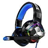 KIOio Casque de Jeu Surround Sound Belt Wheat Headphones PS4, PC, Écouteurs Xbox One Soft Comfort Soft Wire