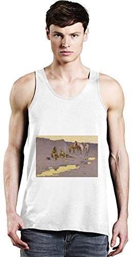 Top Paintings of All Time Frederic Remington - A New Year on The Cimarron Painting Unisex Tank Top T-Shirt Men Women Stylish Fashion Fit Custom Apparel by X-Large - Cimarron Tank
