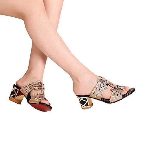 Frauen 2014 Sandalen Rhinestone Hausschuhe Flache Schwarz Weiblichen Der Und Weise High Neue Heel Sandaletten Sommerschuhe Sandale Ausschnitt Frau rrwqv5