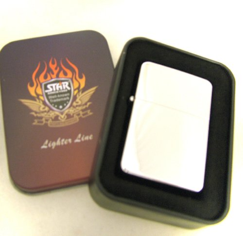 Star Feuerzeug - Chrom poliert in Geschenkbox mit Fluid (Chrom-fluid)