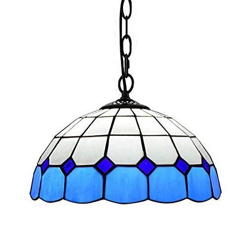 Tiffany-stil-bar (LeiLight Tiffany Stil Pendelleuchte, Mittelmeer Glasmalerei Blau Kronleuchter für Bar, Schlafzimmer, Wohnzimmer Dekoration 30 cm)