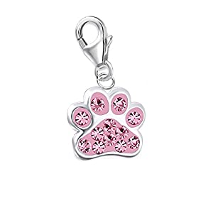 GH1a Kristall Pink Pfötchen Pfote Charm Anhänger 925 Sterling Silber Kinder Mädchen ch016