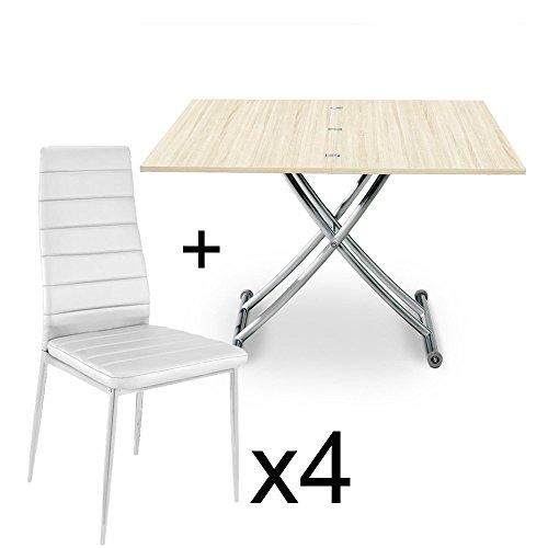 INTENSEDECO Table Basse relevable Chêne Clair et Lot de 4 chaises Blanc