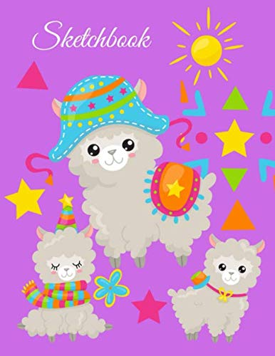 Sketchbook: A Cute Purple Kawaii Japanese  Llama Alpacas Theme Large 8.5