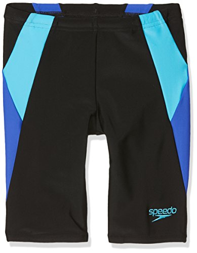 Speedo Jungen Colour Block Jammer, Black/Amparo Blue/Turquoise, 30