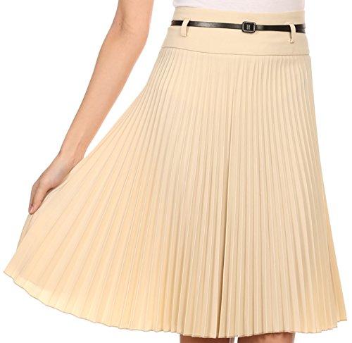 sakkas-fv3543-knee-lunghezza-pieghe-a-line-gonna-con-cintura-sottile-light-beige-grande