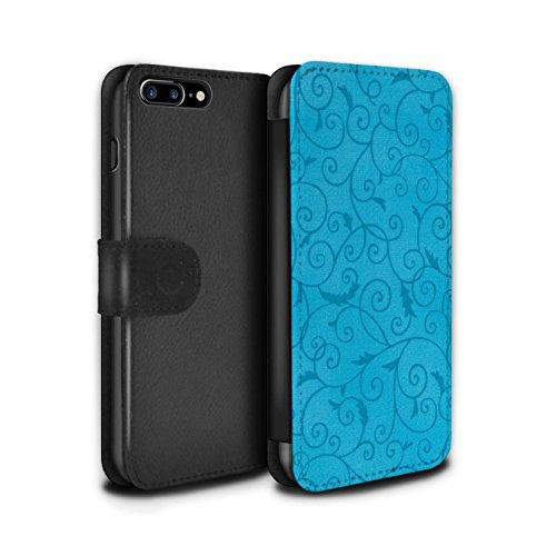 Stuff4 Coque/Etui/Housse Cuir PU Case/Cover pour Apple iPhone 7 Plus / Jaune Design / Motif de la vigne Collection Turquoise