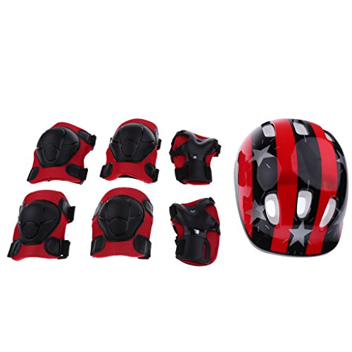 Sharplace 7 Pieces Kids Boy Girl Shock-proof Sport Helmet Knee Elbow Wrist Pad Protector for Roller Skating Riding Scooter Bike Skateboard - Red Star, M