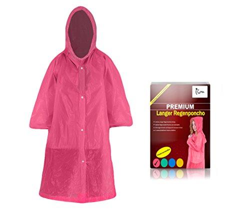 ho lang mit Kapuze für Erwachsene (1,60m bis 2,00m) - Stabiler Langarm Regenponcho wiederverwendbar (pink) ()