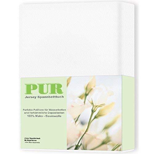 aqua-textil Pur Jersey Spannbettlaken 140x200-160x220 cm Schnee weiß Wasserbetten Boxspringbetten Mako Baumwolle